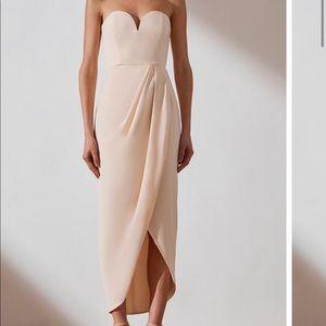 SHONA JOY Bustier Draped Maxi Dress in nude size 2